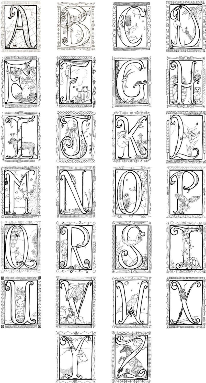 Illuminated Alphabet Coloring Poster  $8 00, Via Etsy