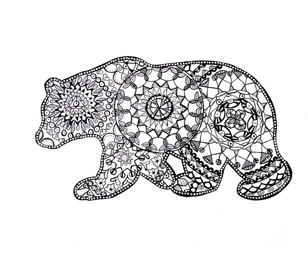 California Bear Mandala Drawing Fine Art Prints