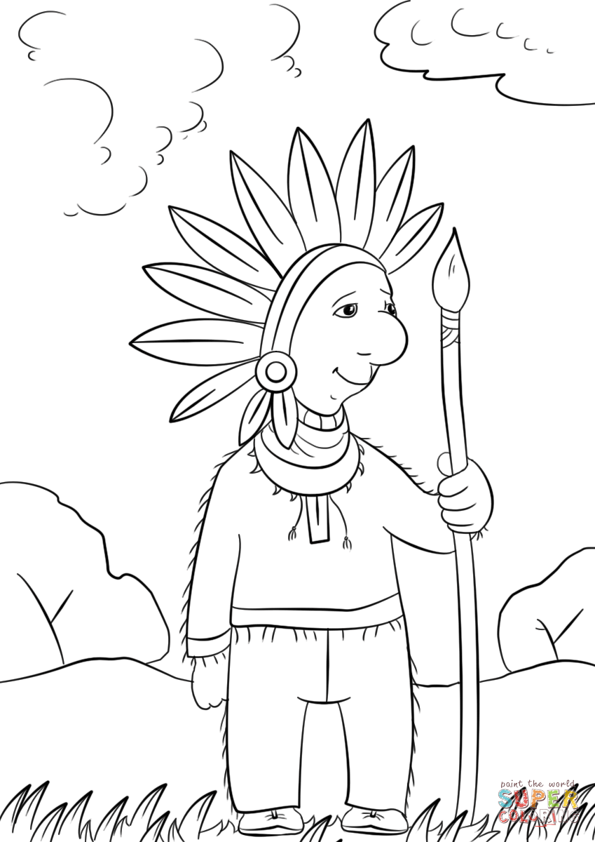 Cartoon Indian Chief Coloring Page