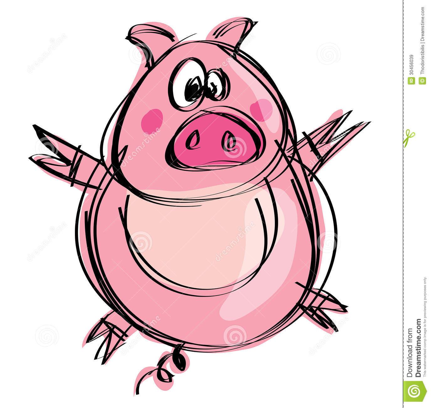 Cartoon Naif Baby Pig In A Naif Childish Drawing Style Stock
