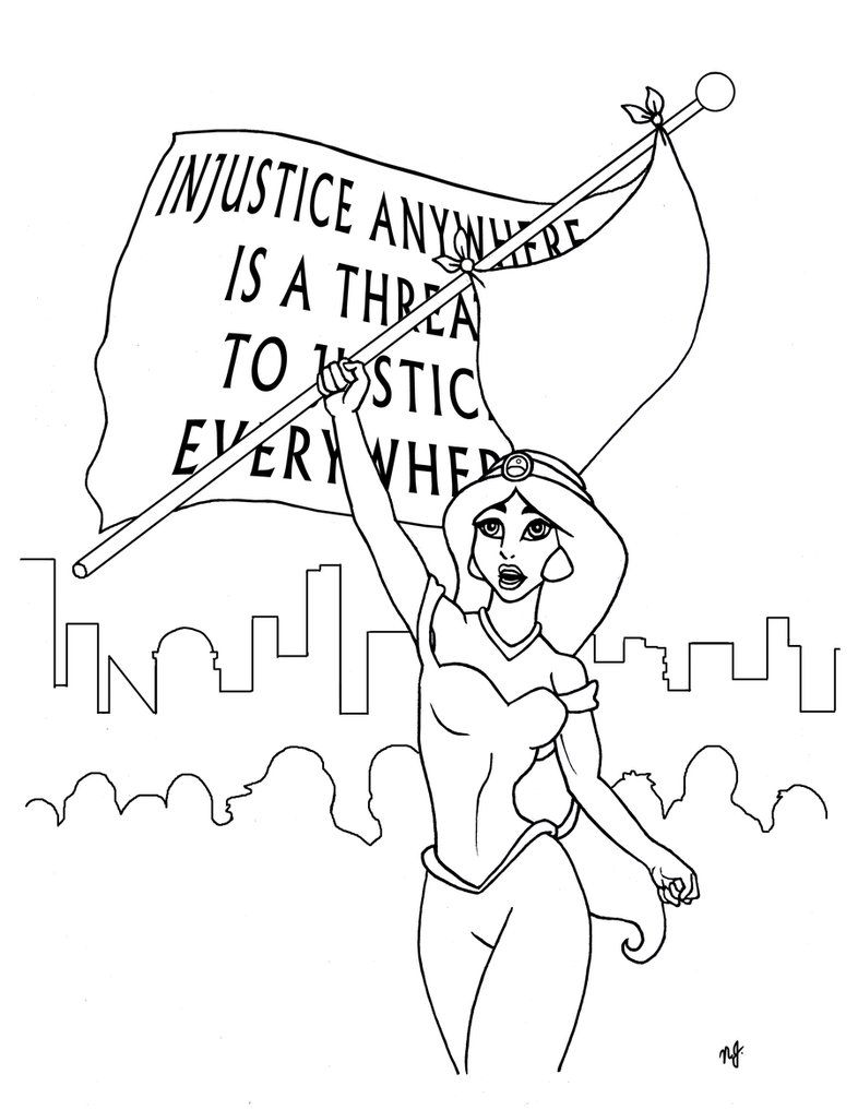 Commission  Jasmine Feminist Coloring Page By Nathanleejames On