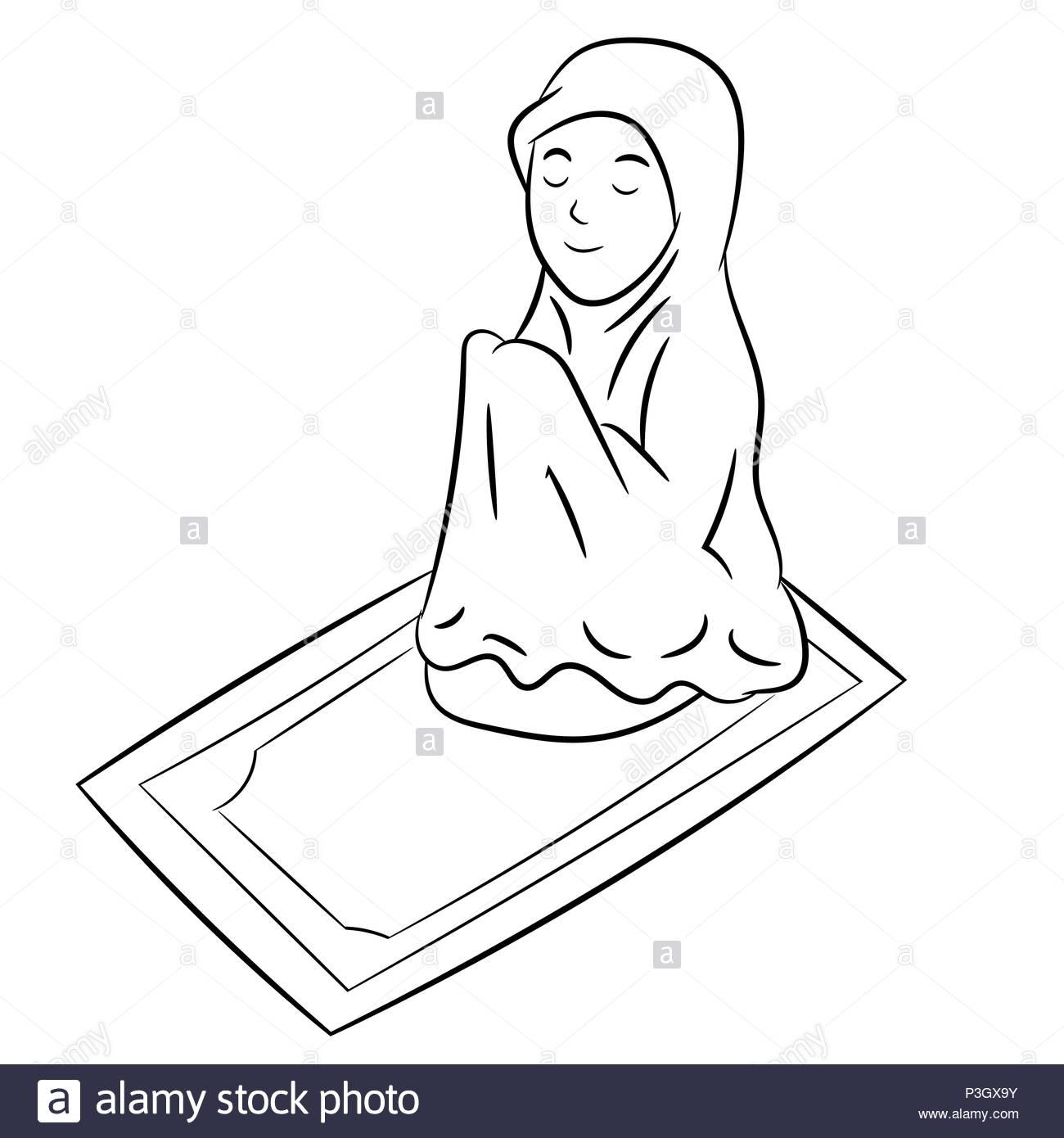 Chica Musulmana Orando Aislado Sobre Fondo Blanco  Línea Simple En