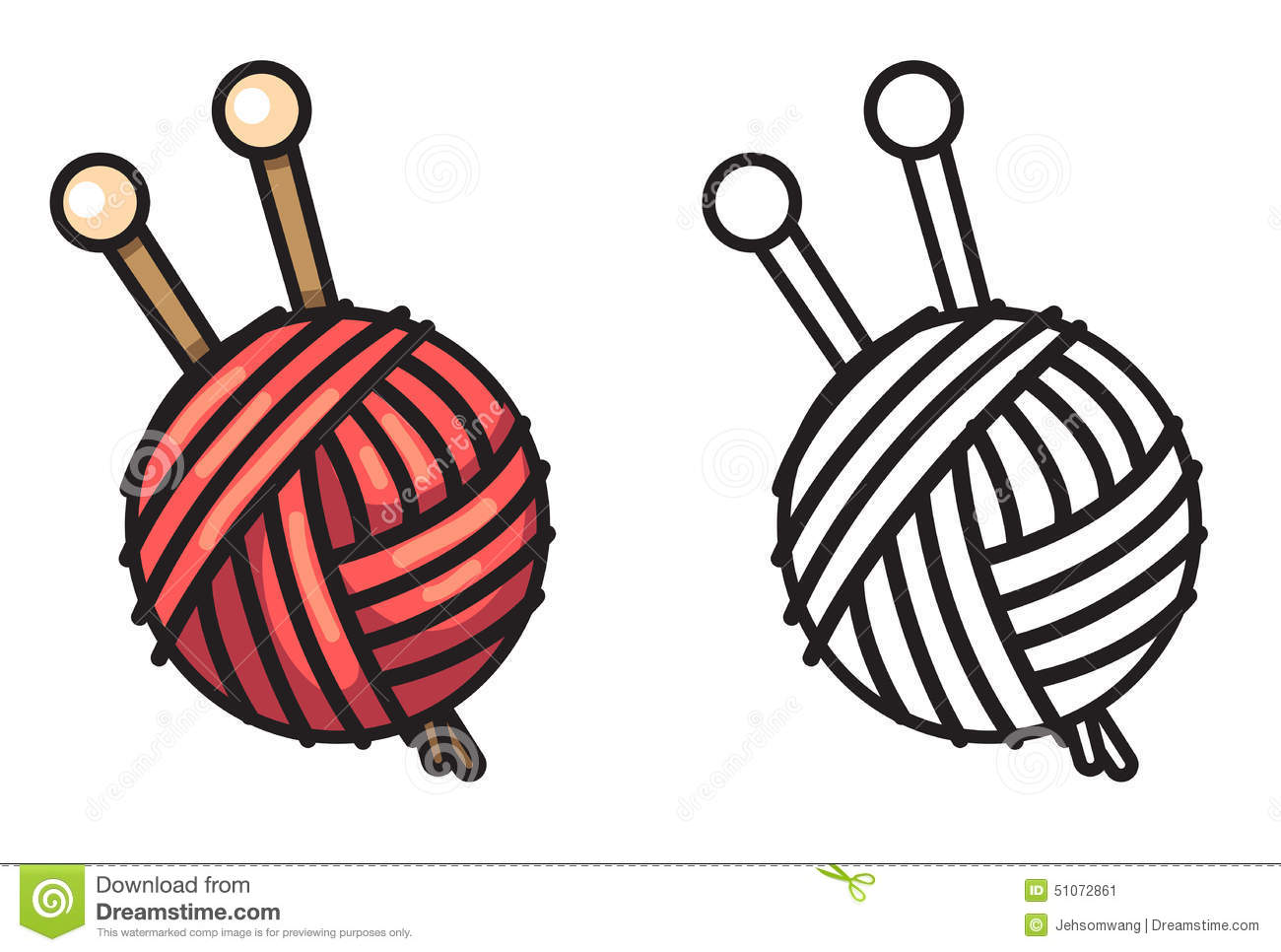 Colorful And Black And White Yarn For Coloring Book Stock Vector