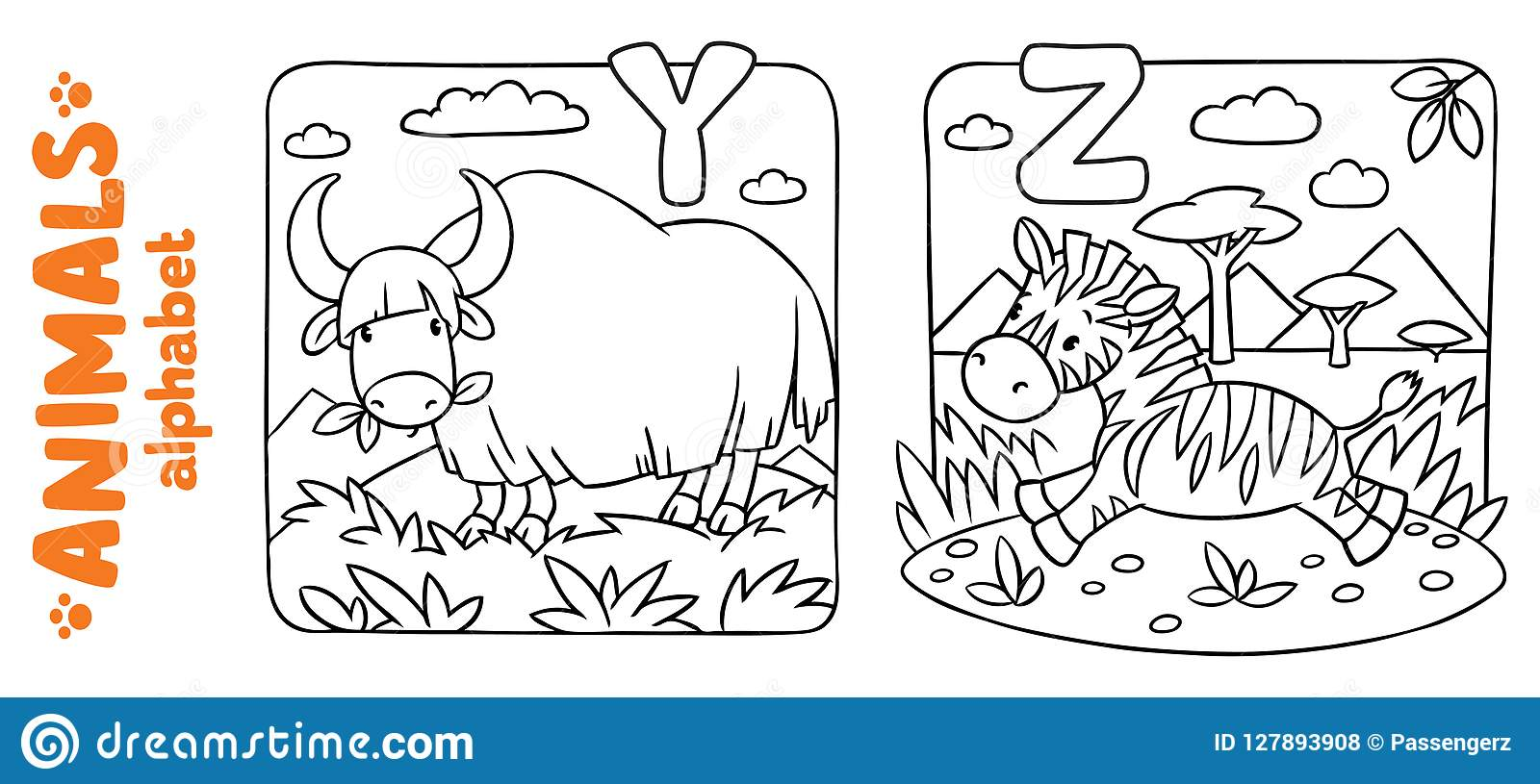 Animals Alphabet Or Abc  Coloring Book Set Stock Vector