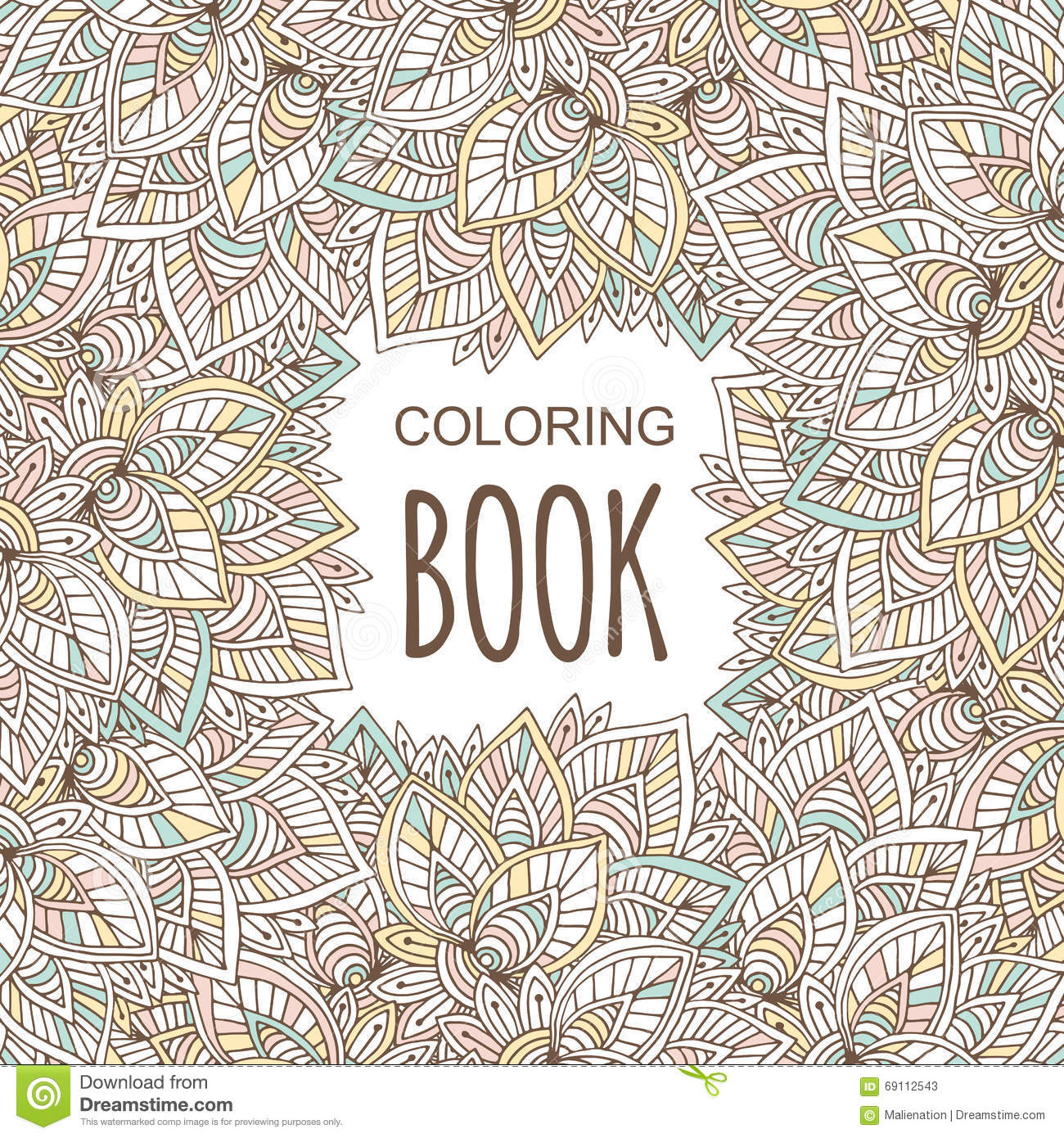 Coloring Book Cover In Unique Zentangle Style  Vector Hand Drawn