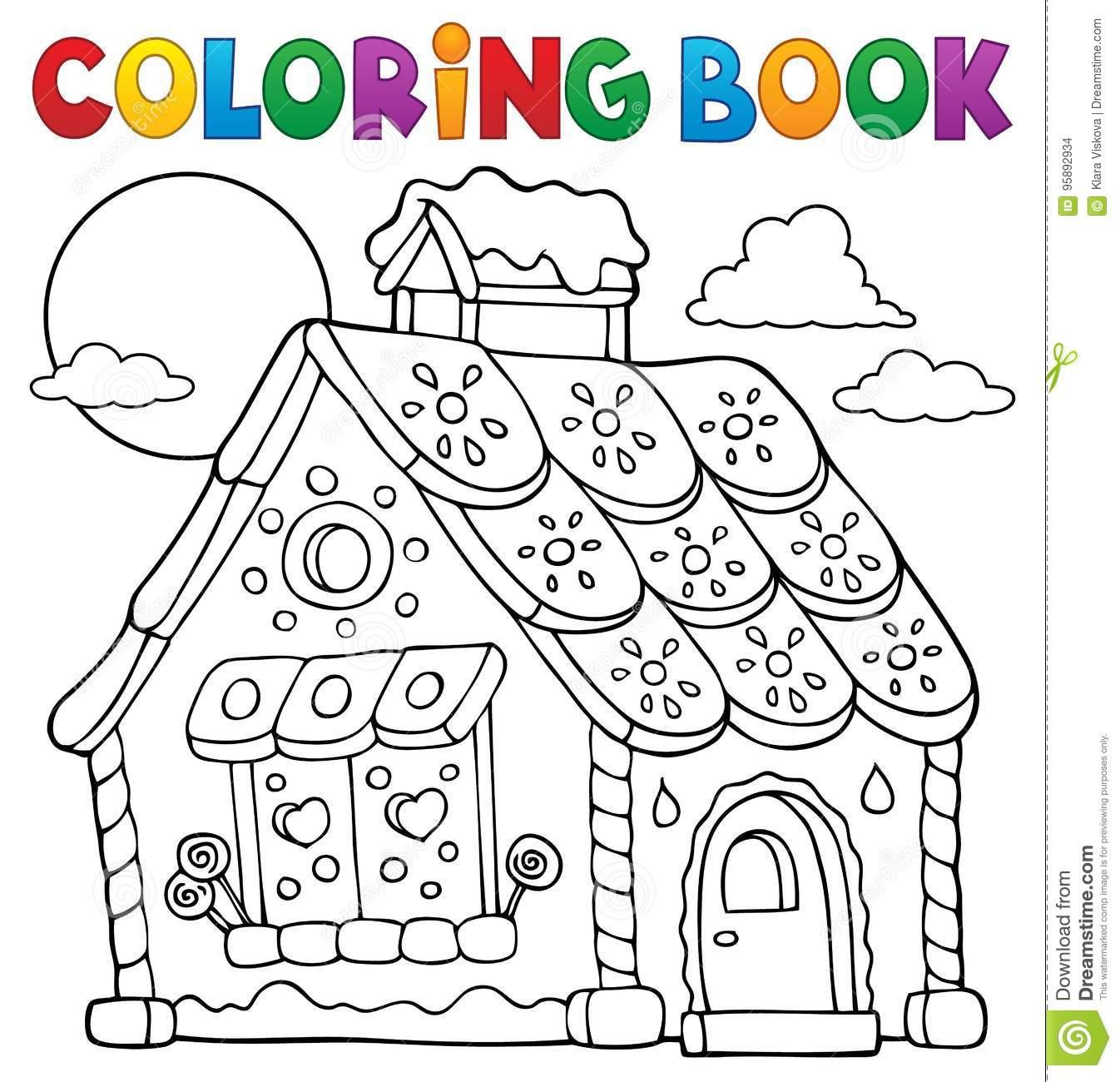 Coloring Book Gingerbread House Theme 1 Stock Vector
