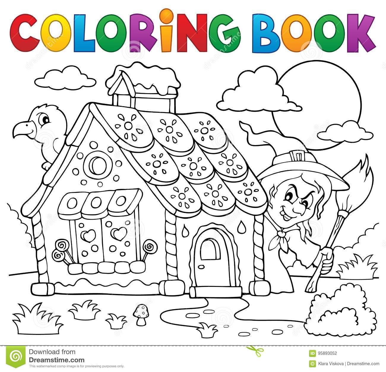 Coloring Book Gingerbread House Theme 2 Stock Vector