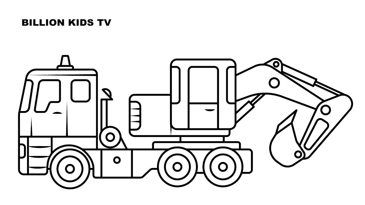 Coloring Page ~ Coloring Page Truck Book Big Excavator For Kids