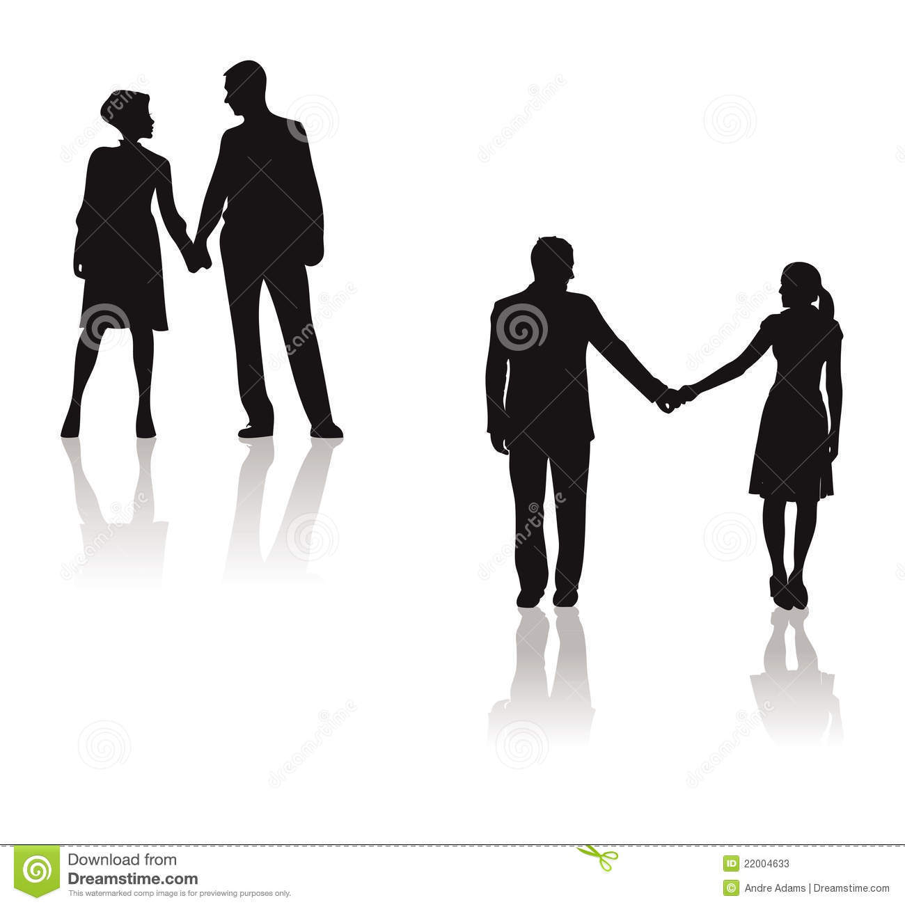 Couples Holding Hands Silhouette Stock Vector