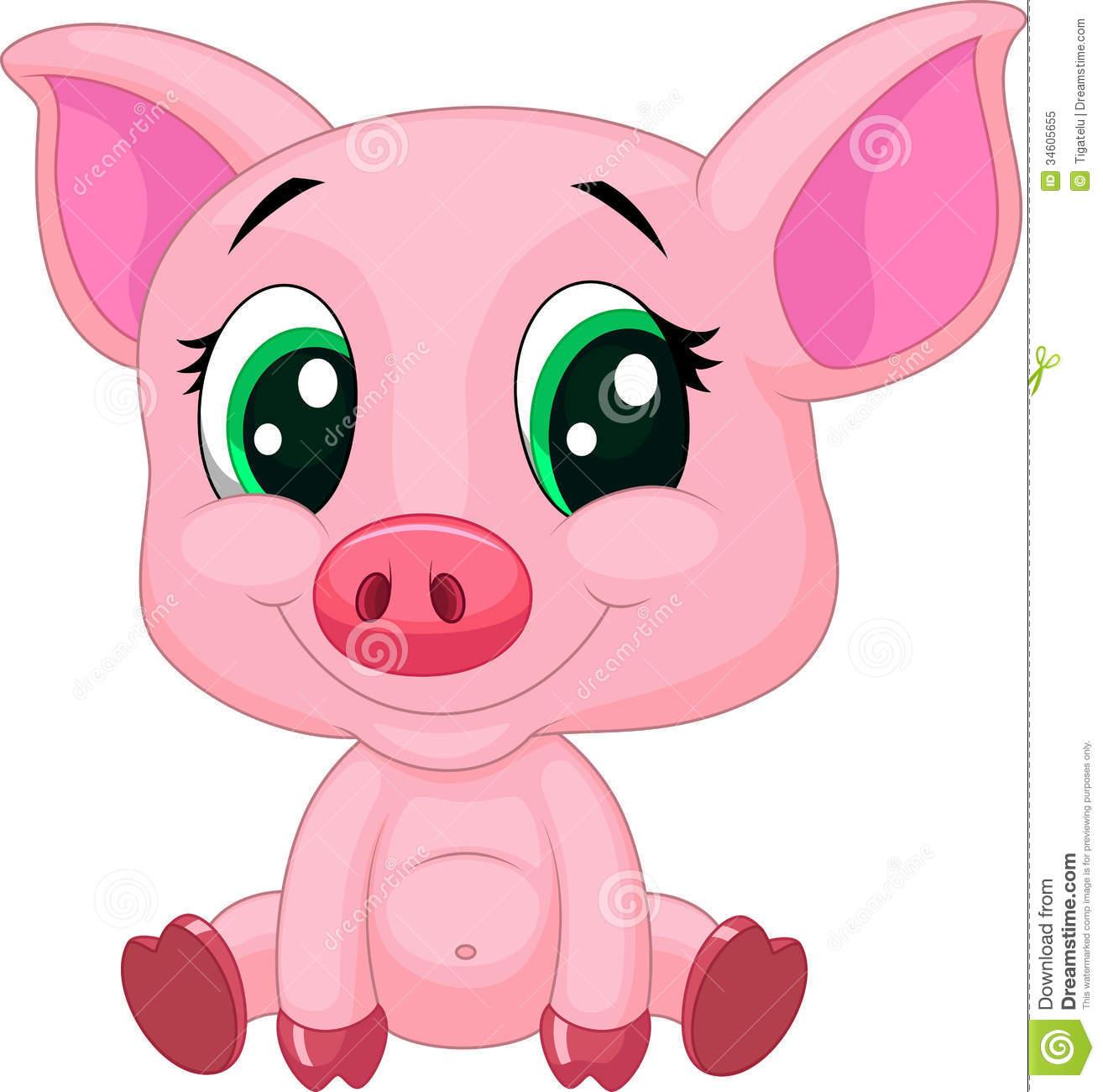 Cute Baby Pig Cartoon Stock Vector  Illustration Of Drawing