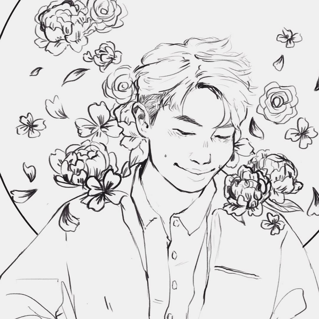 My Piece For The Bts Coloring Book Project I Can't Lineart I'm