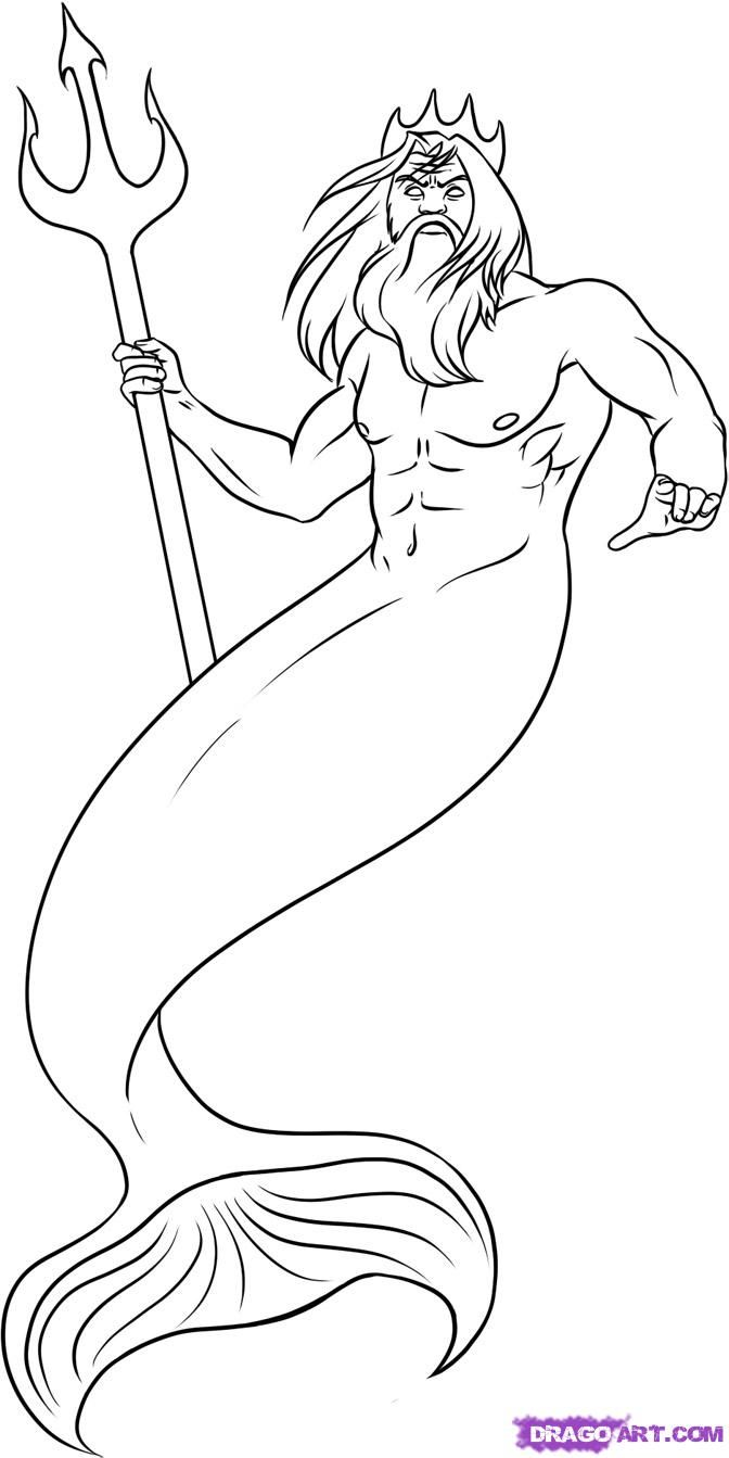 How To Draw Poseidon, Step By Step, Greek Mythology, Mythical
