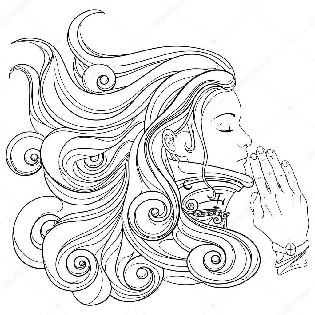 Imágenes  Para Colorear De Mujeres Orando
