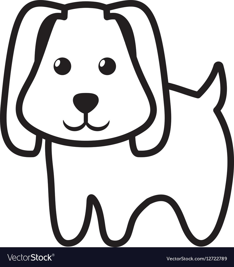 Dog Little Pet Domestic Outline Royalty Free Vector Image