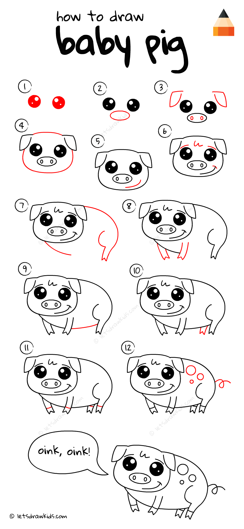 How To Draw Baby Pig