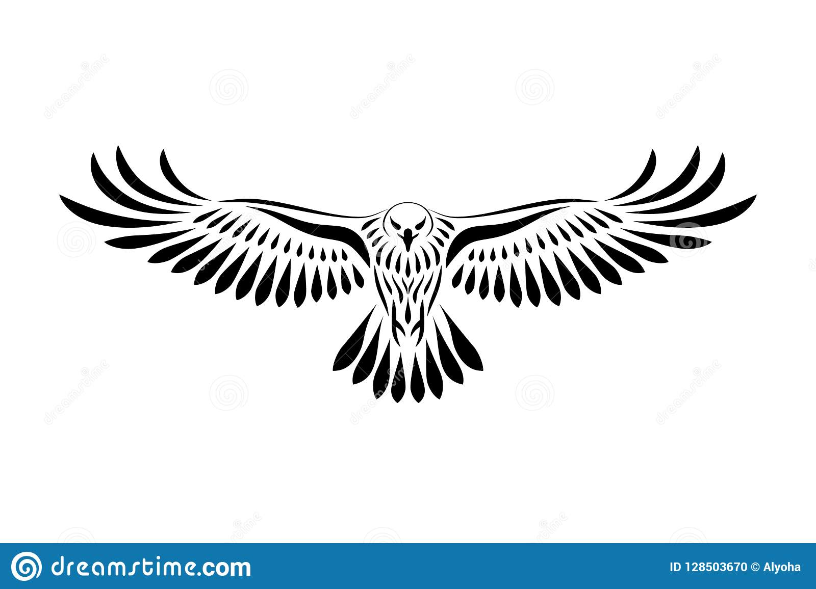 Engraving Of Stylized Hawk On White Background Stock Vector