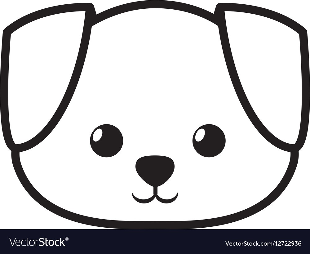 Face Dog Adorable Pedigree Outline Royalty Free Vector Image