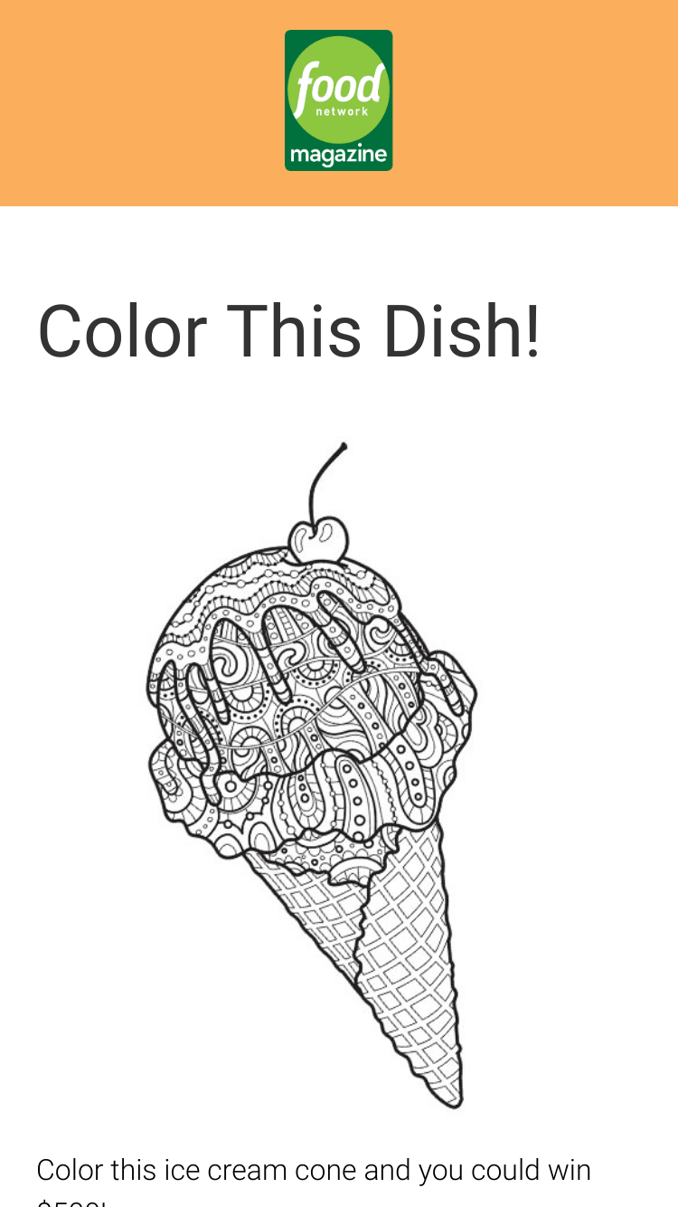 Food Network Magazine – Color This Dish Contest – Win