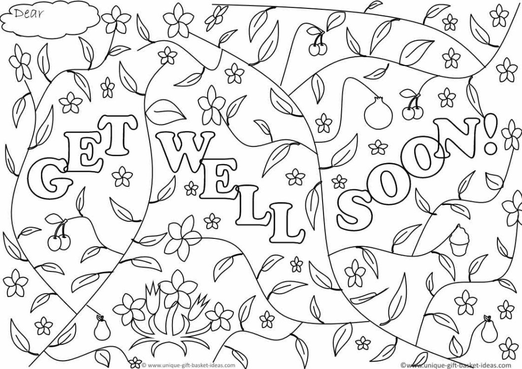 Free Printable Get Well Cards To Color 10 X Soon Coloring Pages
