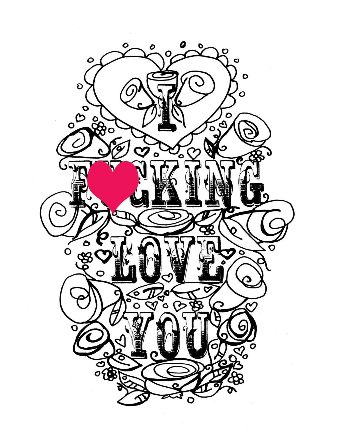 Love Coloring Page Free Printable Pages Throughout Me New I You 3