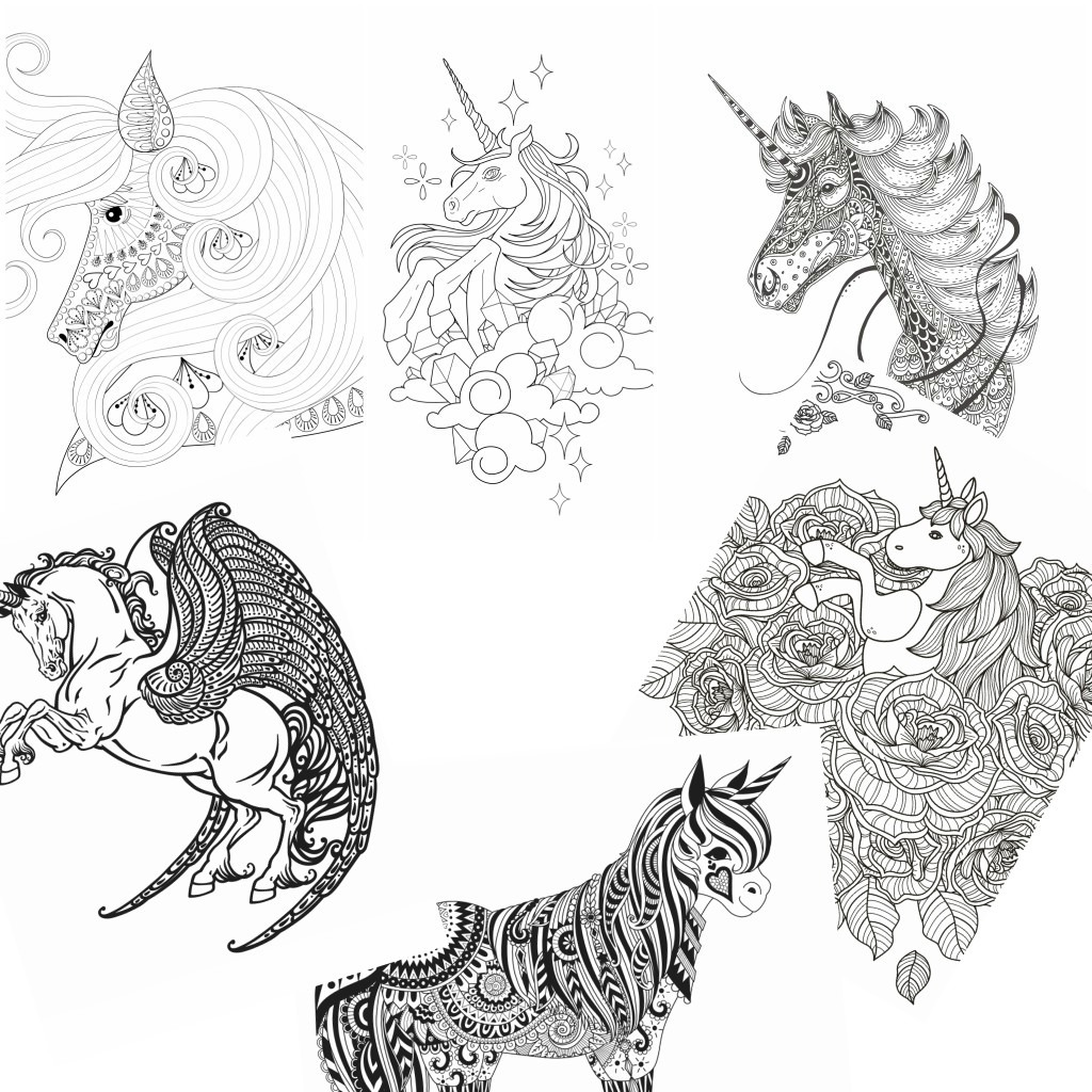 11 Unicorn Coloring Pages For Adults