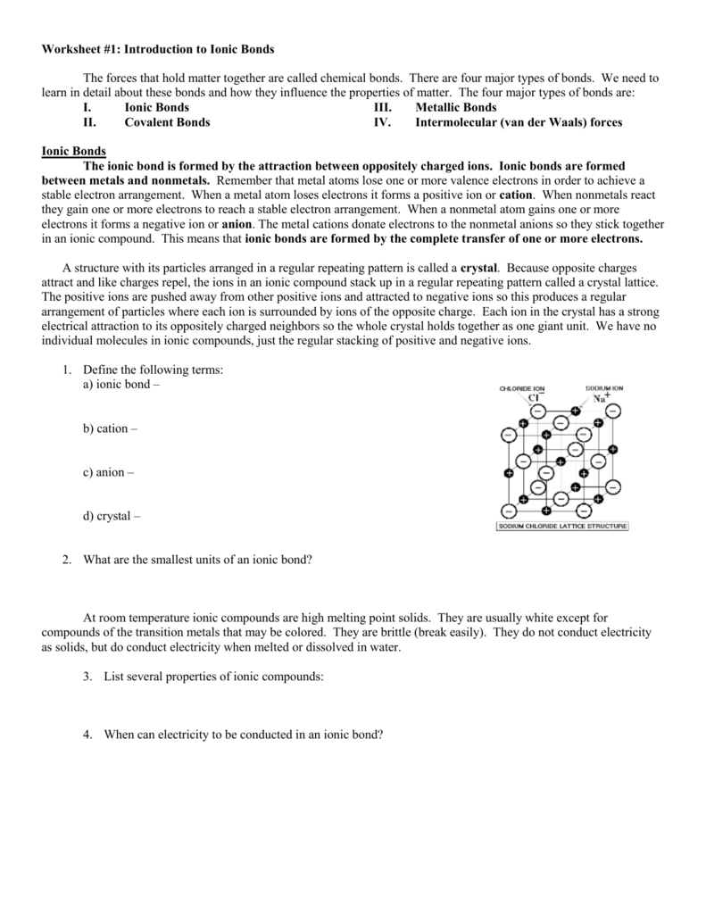 60 Ionic And Covalent Bonds Worksheet Coloring, Ionic Bonding