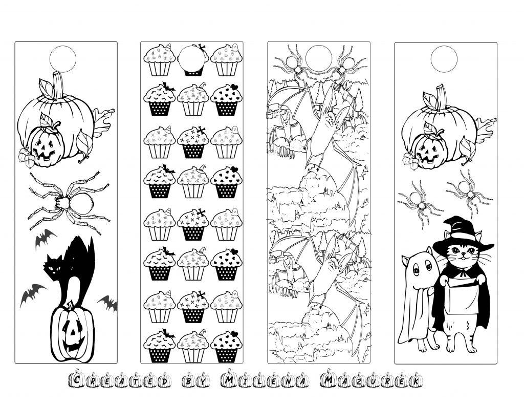 Free Haloween Coloring Bookmarks