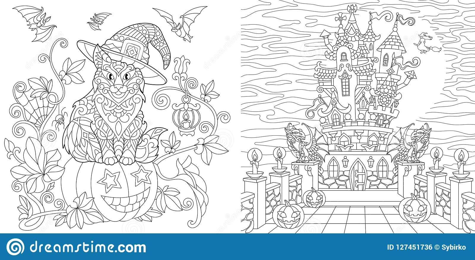 Halloween Coloring Pages Stock Vector  Illustration Of Drawn