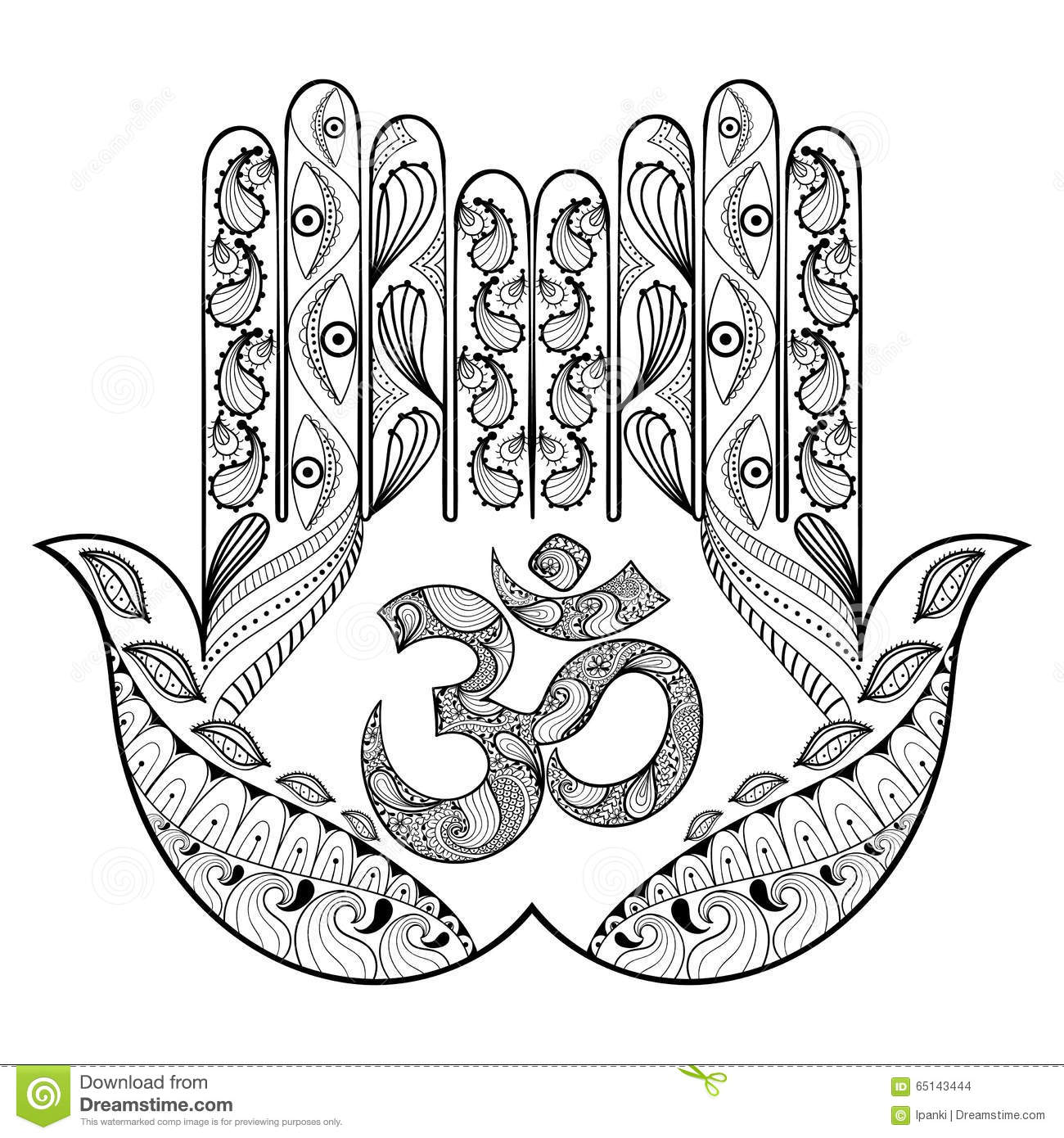 Hand Drawn Protection Hamsa Hand For Adult Coloring Pages In