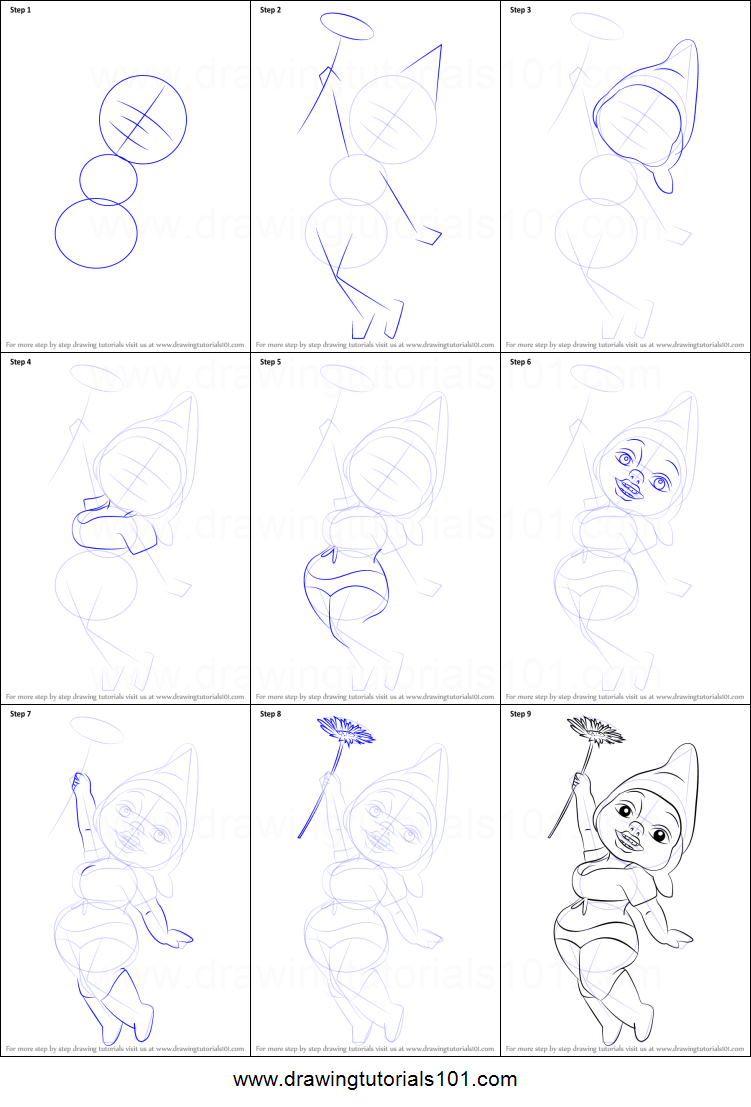 How To Draw Dolly Gnome From Gnomeo & Juliet Printable Step By