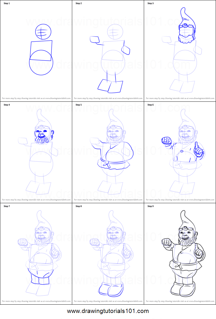How To Draw Garden Gnome Printable Step By Step Drawing Sheet