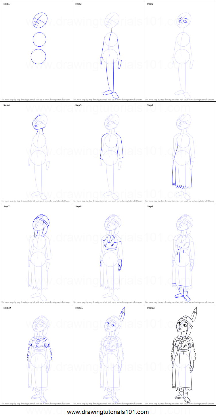 How To Draw Tiger Lily From Peter Pan Printable Step By Step