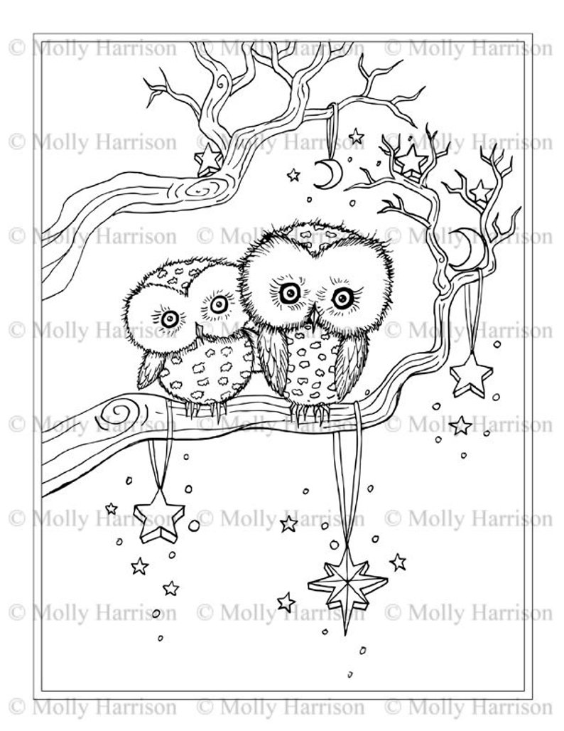 Little Winter Owls Coloring Page Printable Instant Download