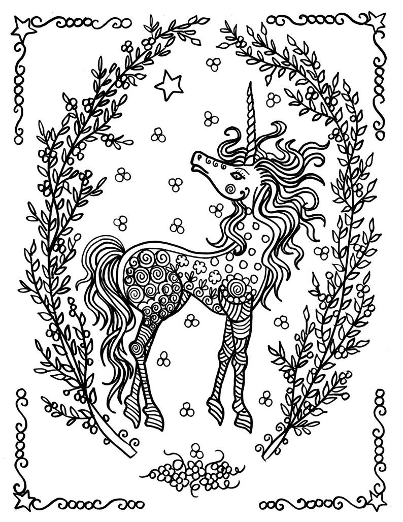 Unicorn Coloring Pages Coloring Adults Instant Downloads