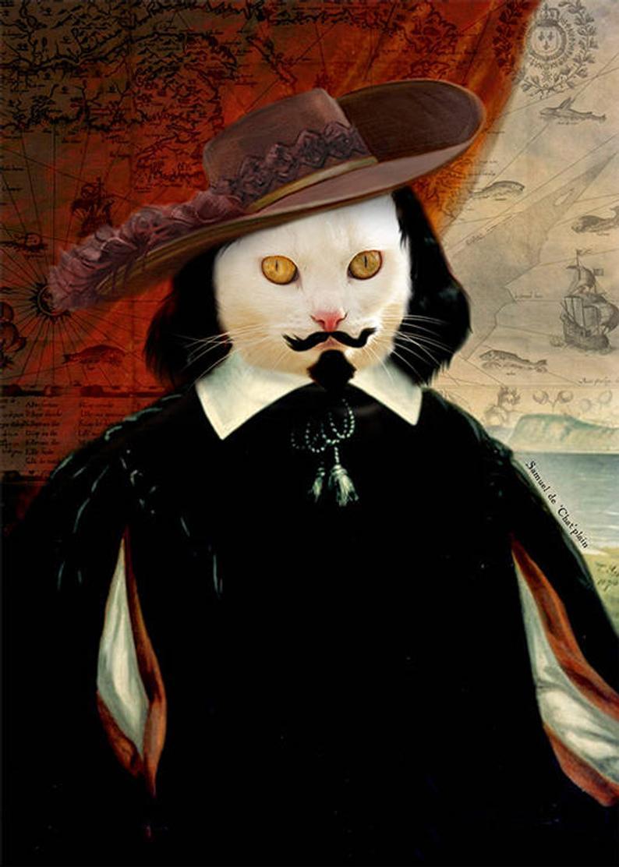 Samuel Champlain Cat Art New French Explorer Animal