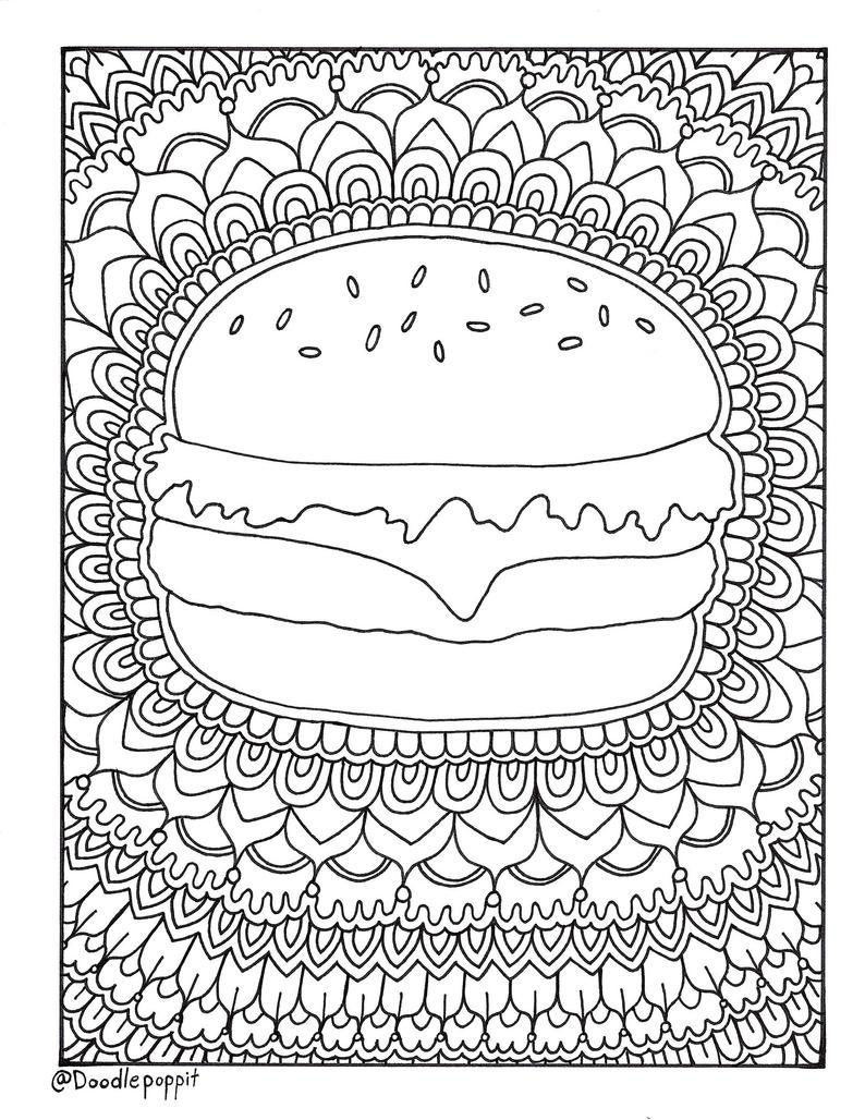 Hamburger Cheeseburger Foodie Coloring Page Coloring Book
