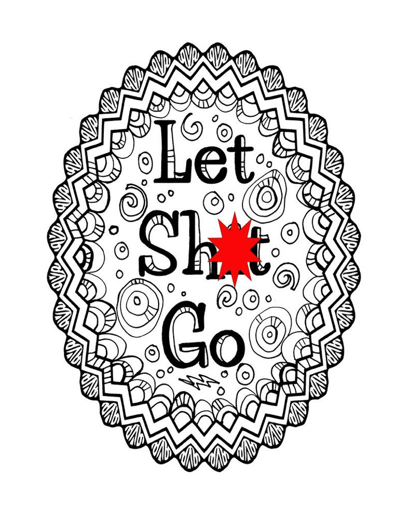 Curse Word Coloring Book Page Printable Let Sht Go