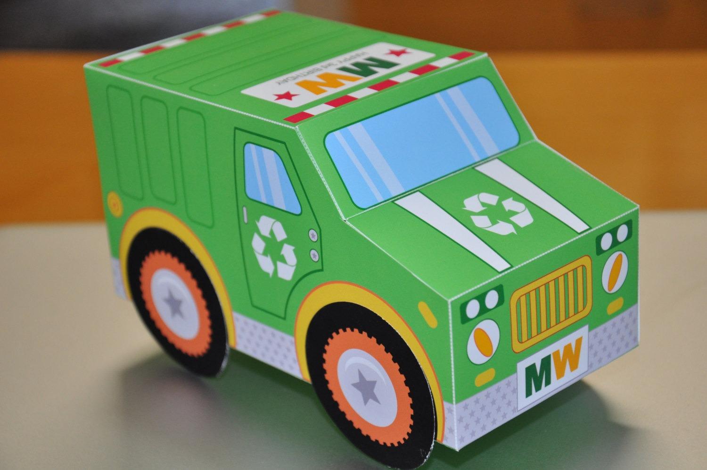 Garbage Truck Birthday Party Favor Box Cupcake Treat Box Pdf