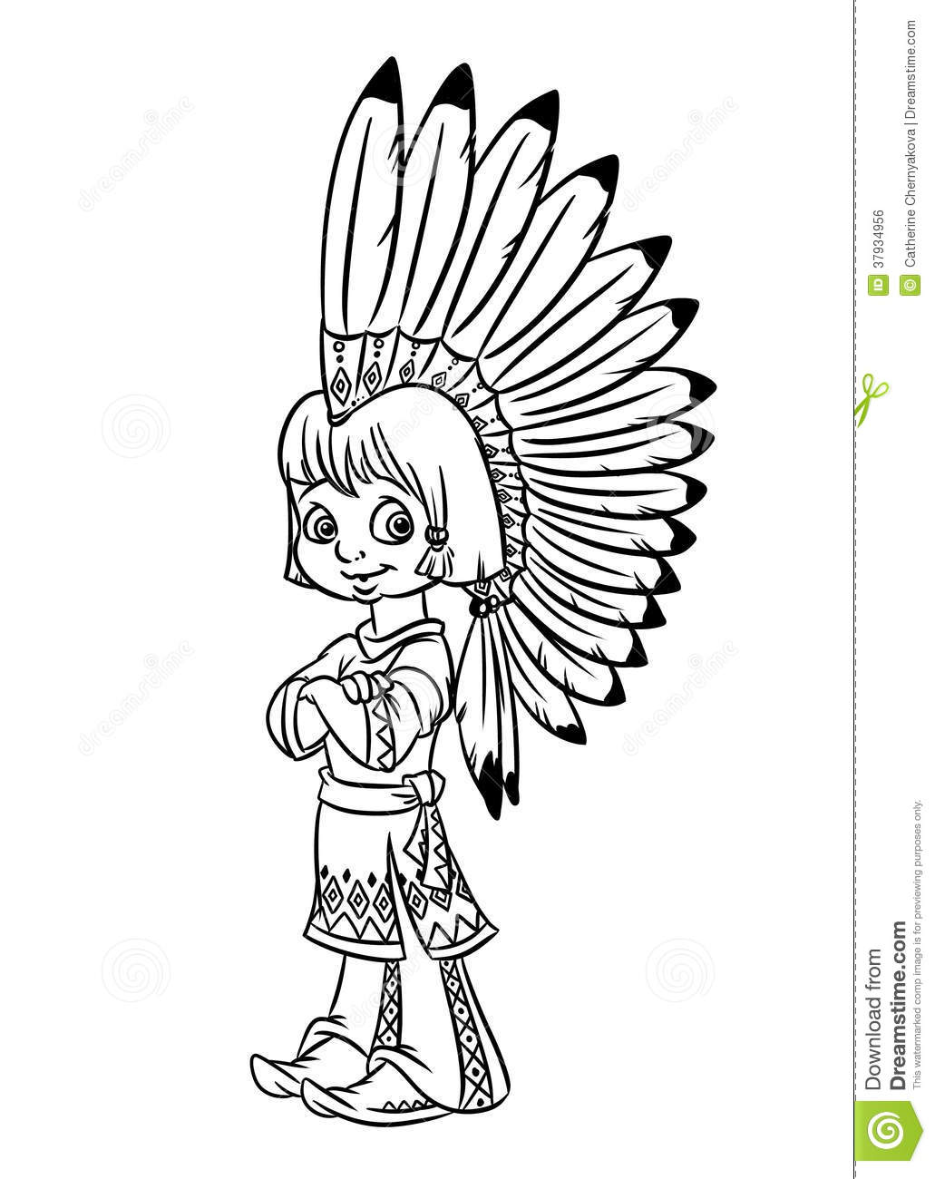 Indian Chief Boy Illustration Coloring Pages Stock Illustration