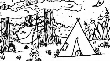 Camping Coloring Sheets For Kids
