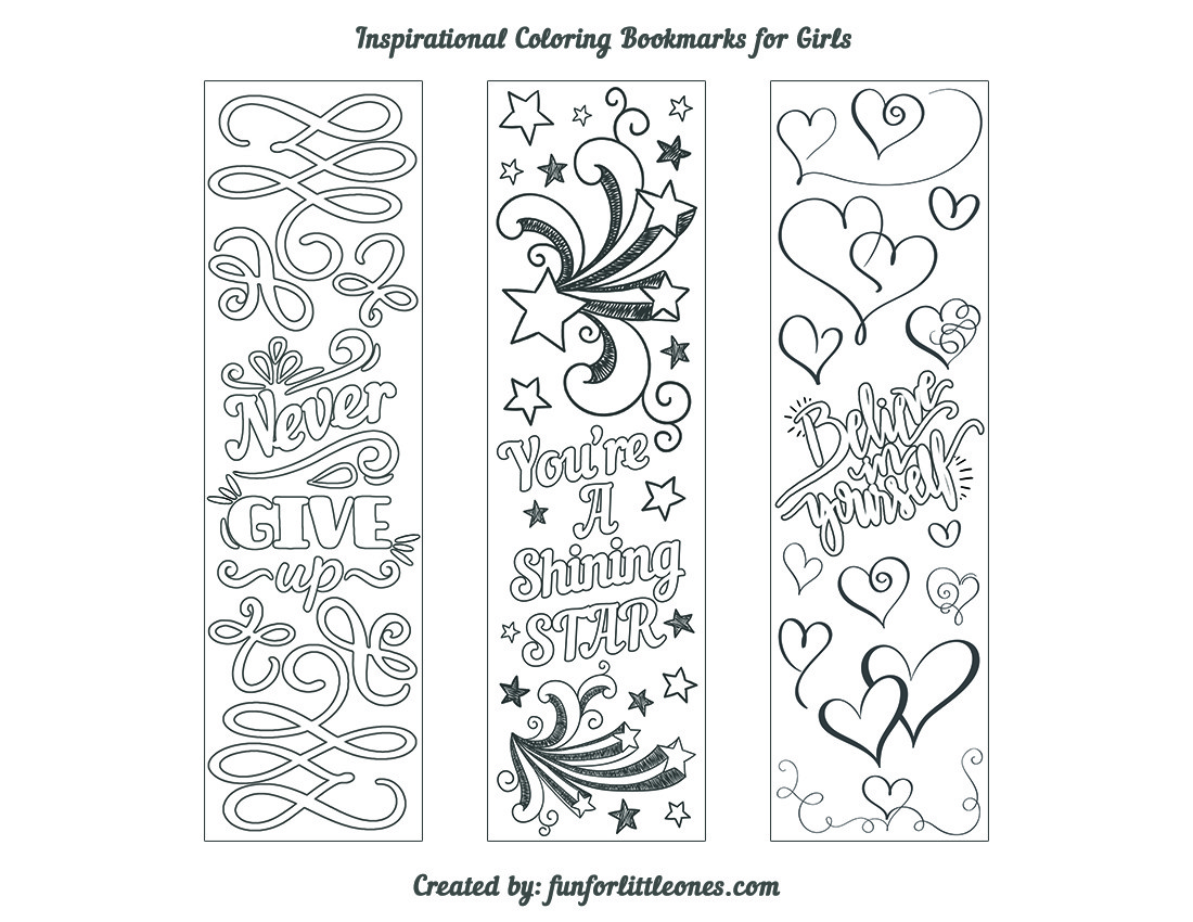 Girls Inspirational Coloring Bookmarks