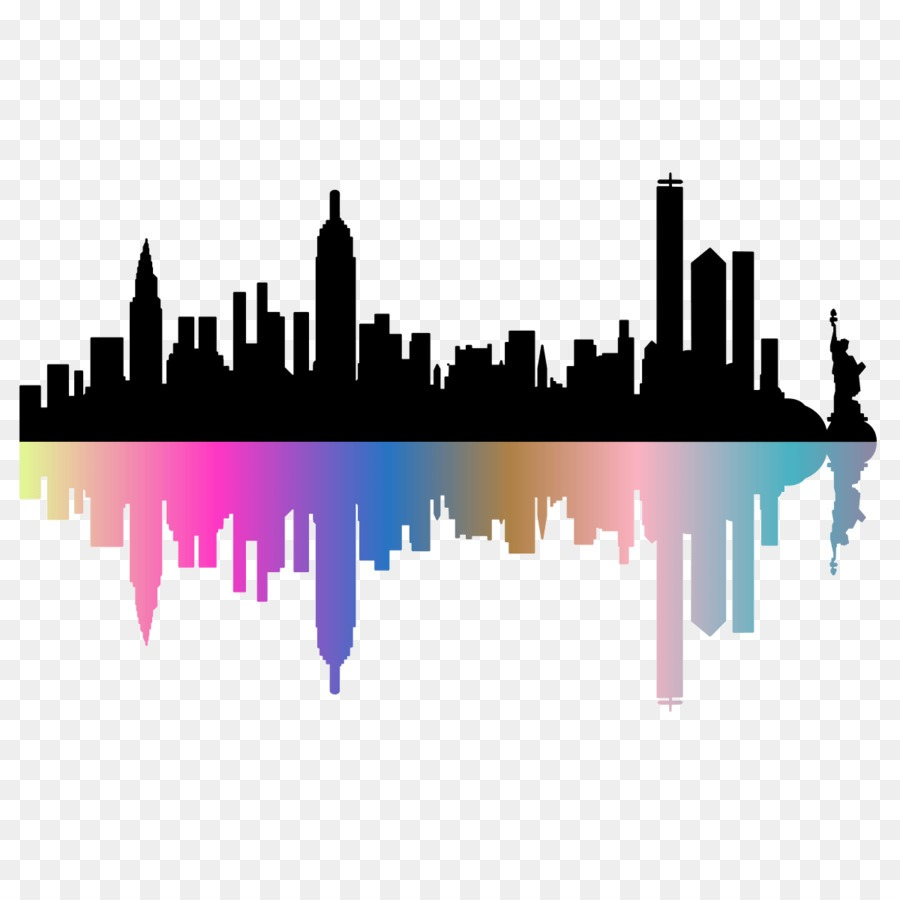 New York City Vector Graphics Skyline Silhouette New City