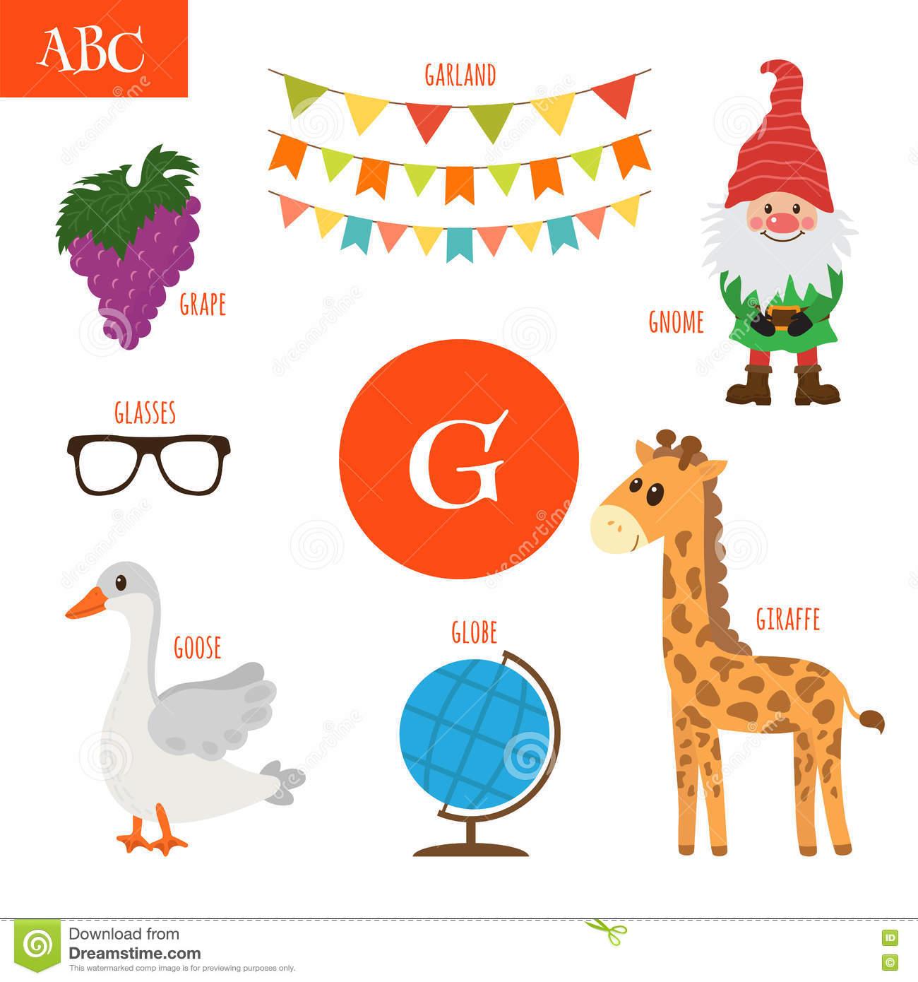 Letter G  Cartoon Alphabet For Children  Giraffe, Gnome, Grape
