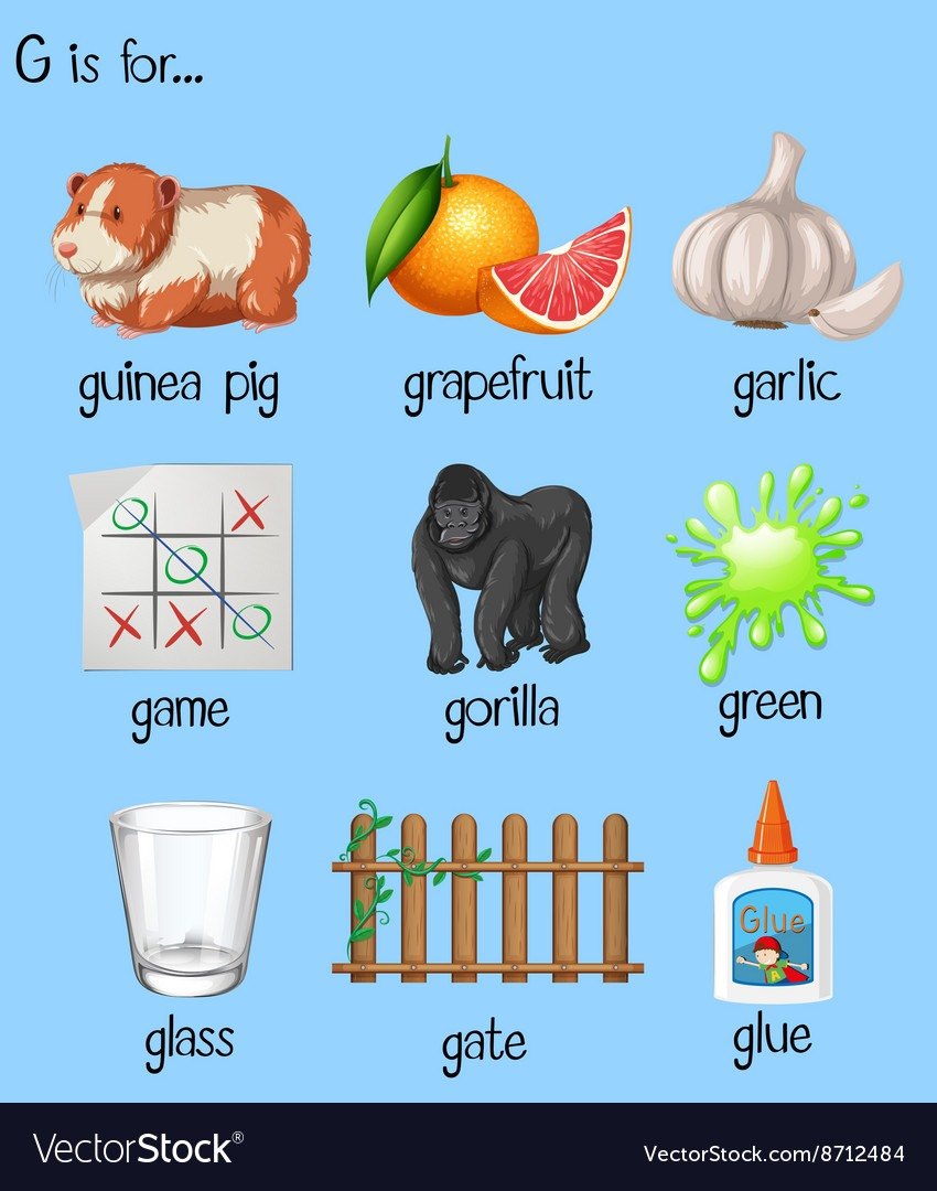Many Words For Letter G Royalty Free Vector Image