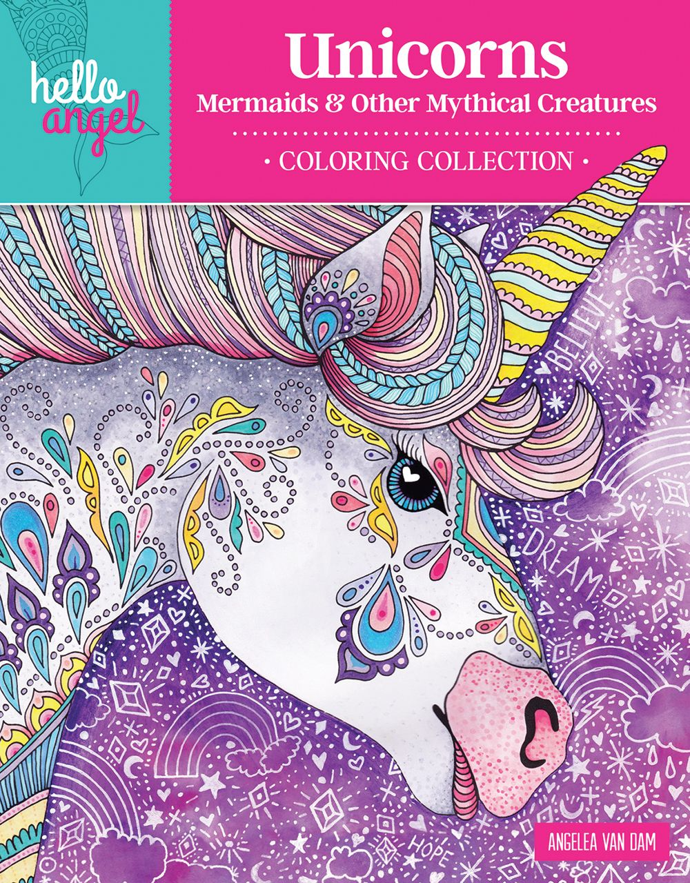 Coloring Page ~ Mary Maxim Unicorns Adult Coloring Book Page