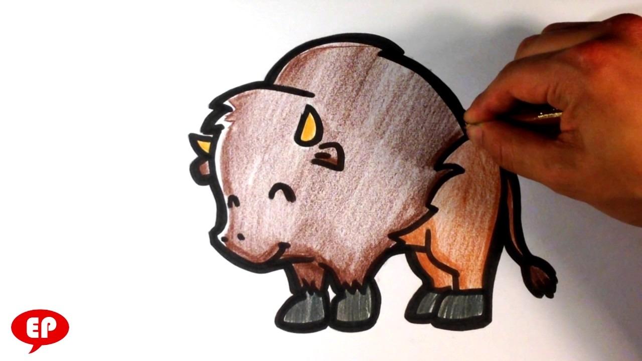 How To Draw A Buffalo ( Cute )