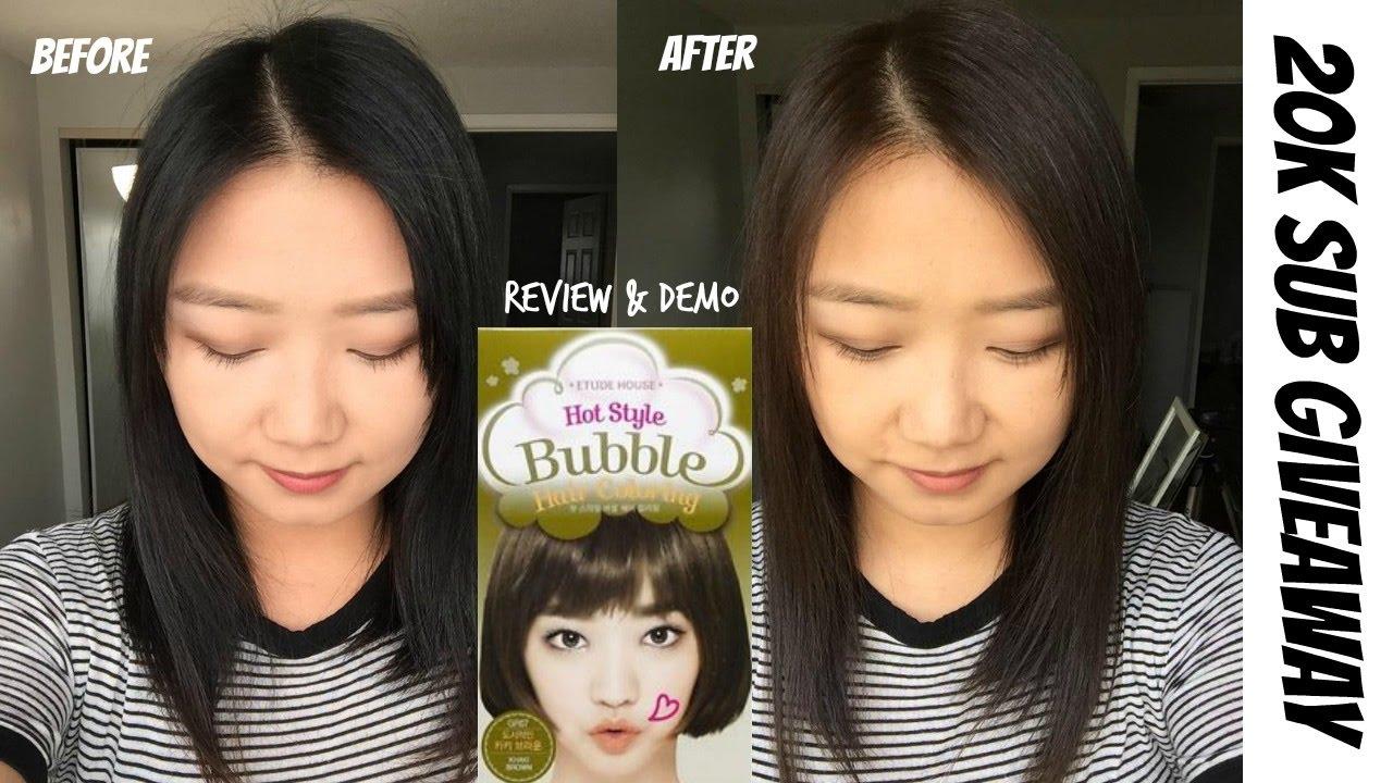 Etude House Bubble Dye Review  7 Khaki Brown & 20k Sub Giveaway