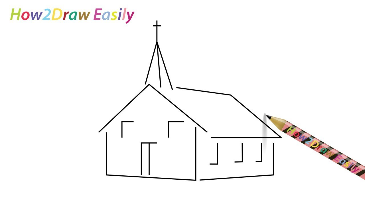 How To Draw A Church ⛪ Step By Step Easy Drawing