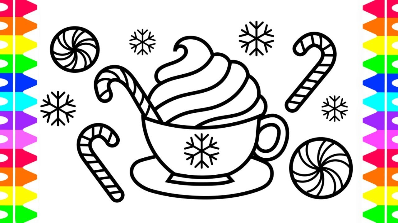 Peppermint Hot Chocolate Coloring Page! Happy Holidays ...