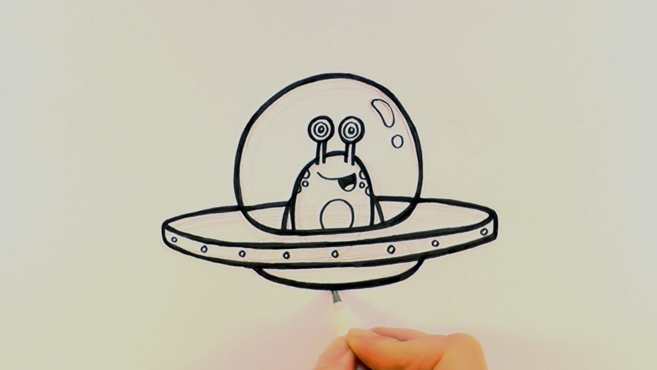 How To Draw A Cartoon Alien In A Spaceship